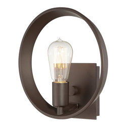 Quoizel - Quoizel UPTR8701WT Theater Row Contemporary Wall Sconce - Theater Row pays homage to Thomas Edison with a vintage bulb that is not only nostalgic but also very trendy. It is a perfect circle but tooled in an elegant way unlike any other item on the market.  With the exposed bulbs and a choice of two finishes, imperial silver and western bronze, Theater Row brings old New York elegance to lighting.
