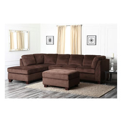 Abbyson Living - Abbyson Living Delano Sectional Sofa and Storage Ottoman Set - This dark brown sectional sofa set combines the comfort of microsuede upholstery, high-density foam fill, and no-sag spring construction with classic and functional design. The ottoman includes plenty of hidden storage space for added convenience.