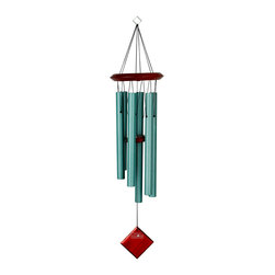 Woodstock Chimes - Encore Chimes of Pluto Verdigris Dark Wood - Bubinga finish wood, 6 verdigris powder-coated tubes