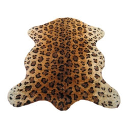 "Walk on Me - Faux Leopard Skin Pelt Rug (40""x55"") - Unparalled in design and function - whimsical, dramatic, unexpectedly cool - contemporary take on an enduring design - rich blend of burnt orange, terracotta, black, and light taupe - machine washable, hypoallergenic, non-slip - short pile - Made in France"