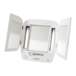 Jerdon JGL10W Euro Tabletop Tri-Fold Two-Sided Lighted Makeup Mirror with 5x Mag - The Jerdon JGL10W Euro Tabletop Tri-Fold Two-Sided Lighted Makeup Mirror is a bathroom and makeup mirror with cool to the touch fluorescent lighting and adjustable side mirrors that fit nicely on any tabletop. Adjustable magnification, versatile illumination and multiple viewing angles make this tri-fold mirror perfect for your beauty needs. The Euro makeup mirror is a highly stylized version of the classic top-selling JGL9W Tri-Fold Mirror. Designed with a sleek contemporary look and attractive white finish to match any home decor, the JGL10W stands up by itself on your countertop, vanity or dresser with a folding back stand. The glare free fluorescent lighting has (4) adjustable settings for color correct lighting selections ideal for daytime, evening, home and office environments. The JGL10W's center mirror swivels from 1x to 5x magnification so every detail of your hair and makeup are in place, while the (2) side mirrors are adjustable for a panoramic view. This tri-fold mirror also provides a convenient 120-volt electrical outlet built-in for curling irons, blow dryers and other appliances. This mirror is 13.8-inches (L) by 3.75-inches (W) by 12.25-inches (H) in size and folds flat for travel or easy storage. The Jerdon JGL10W Euro Tabletop Tri-Fold Two-Sided Lighted Makeup Mirror comes with a 1-year limited warranty that protects against any defects due to faulty material or workmanship. The Jerdon Style company has earned a reputation for excellence in the beauty industry with its broad range of quality cosmetic mirrors (including vanity, lighted and wall mount mirrors), hair dryers and other styling appliances. Since 1977, the Jerdon brand has been a leading provider to the finest homes, hotels, resorts, cruise ships and spas worldwide. The company continues to build its position in the market by both improving its existing line with the latest technology, developing new products and expanding its offerings to meet the growing needs of its customers.