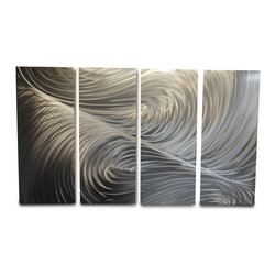 Miles Shay - Metal Art Wall Art Decor Abstract Contemporary Modern Sculpture- Echo 36x63 - This Abstract Metal Wall Art & Sculpture captures the interplay of the highlights and shadows and creates a new three dimensional sense of movement as your view it from different angles.