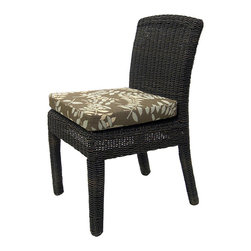 None - Bay Harbor Outdoor Side Dining Chair - The outdoor bay harbor side dining chair is constructed of synthetic all-weather wicker and sturdy powder-coated aluminum,which is both colorfast and weatherfast. The cushions are made with open cell foam that will not absorb water.