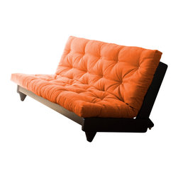 Karup Design - Karup Design Fresh Futon, Orange, Wenge Frame - Freshen up your decor with this sturdy and attractive futon. When it's in the upright position, Fresh adds a flash of modernist style to any room, thanks to its clean lines and low profile. A simple lift of the frame tilts the sofa back on its handy wheels, which let you easily move it around as needed. Release the frame and you've got a plush and pleasant bed topped by our world-famous futon mattress. Made from lightweight but extremely durable pine, this is the one piece of furniture that promises to add a fresh look to any room.