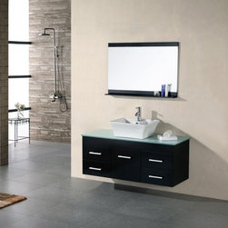 Design Element Madrid 48-in. Single Bathroom Vanity Set - The Design Element Madrid 48-in. Single Bathroom Vanity Set provides a wide, beautiful surface for you to begin your day. The captivating countertop of this piece is made from a solid piece of tempered glass and features a beautiful square porcelain designer sink. The frame is made using solid oak and is finished in handsome dark espresso with stain nickel finished hardware. The unit incorporates four pull-out drawers and a storage cabinet with a soft-closing door to help keep the countertop clean and clear.About Design Element GroupBased in California, the Design Element Group is quickly becoming an industry leader, thanks to their focus on maintaining a position at the forefront of emerging trends in furniture design, modern materials, and quality craftsmanship. From their humble beginnings in 2010, Design Element Group has made quite the name for itself, providing high-quality bathroom vanities at an affordable price. Each piece is professionally designed and handcrafted, never mass-produced. Their passion, commitment to their products, and loyalty to their customer base has made the Design Element Group a company to take note of.