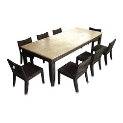 Imanem Dining set 8 seater - Aluminum powder coated frame with Polyethylene weaving