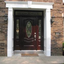 Entrance doors masonite mahogany skin fiberglass door i for Home main door vastu
