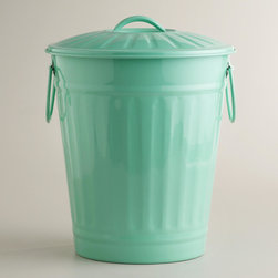 Mint Retro Galvanized Trash Can - Not only do I love the darker mint color, but I also love the retro garbage can shape. I would put this to good use storing dog food in my laundry room because it hides unsightly items in a particularly stylish way.
