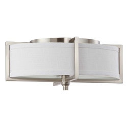 Nuvo Lighting - Nuvo Lighting 60/4348 Portia ES Two Light Energy Star Oval Flush Mount Ceiling F - Nuvo Lighting 60/4348 Portia ES Two Light Energy Star Oval Flush Mount Ceiling Fixture with Slate Gray Fabric Shade, in Brushed Nickel FinishPortia's oval shapes with linear elements bring lighting fixture design to a new, sleeker prominence. Portia's departure from the conventional enable new and fresh decors to be created. Offered in Hazel Bronze with Khaki fabric shades and a cream diffuser and Brushed Nickel with Slate Gray fabric shades and a frosted glass diffuser. Nuvo Lighting 60/4348 Features: