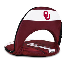 Picnic Time - University of Oklahoma Oniva Seat Sport Recreational Reclining Seat - Football fans will love this recreational reclining seat that's so lightweight and portable. The Oniva Seat Sport has an adjustable shoulder strap and six adjustable positions for reclining. The seat cover is made of brown polyester and has been designed so that the entire seat looks like a larger than life football! The bottom of the seat is black dimpled PVC so as not to soil easily, the frame is steel, and the seat is cushioned with high-density PU foam, which provides hours of comfortable sitting. The Oniva Sport - Football is great for the beach, the park, or as an indoor gaming seat and makes the perfect gift for fans of the great sport Americans call football!; College Name: University of Oklahoma; Mascot: Sooners; Decoration: Digital Print