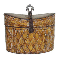 Sterling Industries - Sterling Industries Harlequin and Tassel Box X-2424-27 - A blend of patterns accentuates the elongated ovular shape of this Sterling Industries box. This harlequin and tassel box comes complete with a finial at the top, as well as beaded detailing to the rims and an unusual curvilinear top. Ceramic and metal construction add to its appeal.