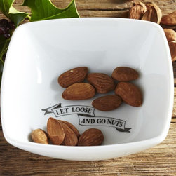 Let Loose & Go Nuts Snack Bowl - Add something you love to your fall entertaining, but don't take it so seriously. It's about fun and family, so just pick what you love and go with it. This nut bowl is simple and funny, especially for the guy that makes it to the bottom.