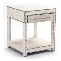 Kathy Kuo Home - Modern Art Deco Hollywood Regency Hair on Hide Nightstand End Table - This is the nightstand that refuses to be overlooked in your modern, glamorous bedroom or living room!  Its gorgeous art deco detailing will be the first thing to catch the eye;  covered in creamy faux leather and muted grey cowhide with gleaming nailhead detailing, you'll almost be tempted to put this nightstand end table on display, museum-style, rather than use its ample storage.  Proudly made in the USA.