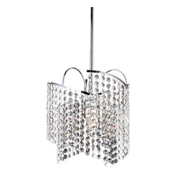 Warehouse of Tiffany - Ann Crystal Chandelier - Bring an elegant, luxurious touch to your home decor with this beautiful four-light chandelier. This light fixture features a chrome finish, shade and clear crystal glass details.Includes 3 feet of wire and 3.37 feet of poleSetting: IndoorsFixture finish: ChromeShades: CrystalNumber of lights: 1Requires one (1) 60-watt bulb (Bulbs not included)Dimensions: 11 inches wide x 52 inches highThis fixture does need to be hard wired. Professional installation is recommended.Note: This disclaimer does not apply to floor and table lampsCSA Listed, ETL Listed, UL Listed