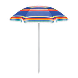 """Picnic Time - Multi-Color Striped Polyester Umbrella - Multi-color Stripe - Picnic Time's Umbrella is a multi-color striped polyester umbrella that is perfect for the beach, camping, or picnics. The pole measures 79.5"""" tall and 1.25"""" diameter and has tilting option and a pointed end for easier penetration into sand or dirt. The Umbrella measures 57.5"""" across. It comes with a sturdy carry bag with handle made of clear PVC. Don't get caught in the hot sun without your Umbrella by Picnic Time!"""