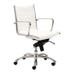 "Eurostyle - Eurostyle Dirk Low Back Leatherette Swivel Office Chair in White - Leatherette Swivel Office Chair in White belongs to Dirk Low Back Collection by Eurostyle Leatherette over foam seat and back. BIFMA approved chromed steel base. Chromed aluminum armrests. Tilt, swivel and gas lift. PU casters with stainless steel hood. Flat bungee band seat construction inside seat. Seat height 18"" ��_��_��_ 21"". More colors. Office Chair (1)"