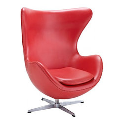Arne Jacobsen Style Leather Egg Chair - Embracing the organic, timeless shape, of one of nature's most proportional creations, Arne Jacobsen's iconic Egg Chair has harmonized a sensuous, aesthetic form with comfort and functionality. Purpose built for the lobby of the Royal Hotel in Copenhagen in 1958, its influential design has celebrated more than 50 years of pioneering the aesthetics of Modernism. The unique retro construction of this inspirational product has established the Egg Chair as a significant contribution to Nordic design heritage. Sheltered for privacy, its cozy structure integrates the surroundings, making it the focal point of any style-led space. Acting on its iconic image, the Egg Chair has been featured in memorable film productions and has a significant role in the 6th book of the Hitchhiker's Guide to the Galaxy.