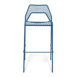 Blu Dot - Blu Dot Hot Mesh Barstool, Simple Blue - Chipper stool seeks derrieres for at home enjoyment or cafe canoodling. Available in six finishes: black, green, humble red, natural yellow, simple blue and off-white. Stackable and suitable for use indoors or out. Also available as a chair or counterstool.Powder-coated steel