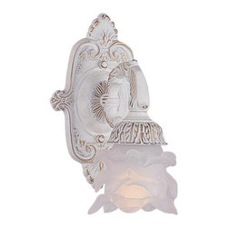 Crystorama - Crystorama Paris Flea Market Wall Sconce in Antique White - Shown in picture: Paris Flea Market Natural Wrought Iron Wall Sconce Accented with Tulip Glass; Paris Flea Market offers casual yet elegant - whimsical and chic chandeliers - wall sconces - and ceiling mounts.