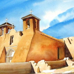 """""""San Franciscon De Asis"""" Original Watercolor Painting - Is there any question why this mission church has been photographed and painted so often? Artist Charles Ash captures the inspiring beauty and sheer mass of the adobe buttressing as the sunlight plays off it in this painting. The original watercolor brings a piece of history into your home."""