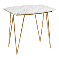 Worlds away - Worlds Away Suzy Gold Leaf and White Marble Side Table - Like an egret majestically pondering existence, this white marble side table stands on thin gold-leaf bird legs. Perfect for a card game, food prep or presentation or just alongside your cozy couch, this midcentury modern end table will certainly stand the test of time.