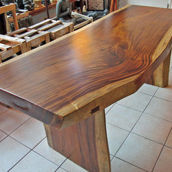 """Natural Edge Dining Table or Office Desk, 32"""" x 6'-7"""" x 31"""" tall, 3.75"""" thick - A great looking dining table or office desk made of reclaimed natural / live edge monkeypod wood with a clear satin urethane finish.  Nice thick piece of wood!"""