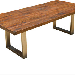 Sierra Living Concepts - Solid Wood Lyon Modern Rustic Industrial Iron Base Dining Table - Rustic but with a very definite contemporary twist. This large dining table is skillfully crafted with a perfect mix of warm rustic Acacia wood and cool, sleek modern iron.