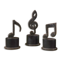 Uttermost - Uttermost Music Notes Sculpture in Matte Black - Shown in picture: Aged Black With A Tan Glaze And Matte Black Accents. Hand forged metal finished in aged black with a tan glaze and matte black accents. Sizes: Sm-5x11x3 - Med-5x12x3 - Lg-5x12x3