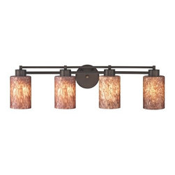 Design Classics Lighting - Modern Bathroom Light with Brown Art Glass - Four Lights - 704-220 GL1016C - Contemporary / modern neuvelle bronze 4-light bathroom light with cylinder glass shades. A socket ring may be required if installed facing down. Takes (4) 100-watt incandescent A19 bulb(s). Bulb(s) sold separately. UL listed. Damp location rated.