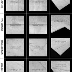 White Carrara Marble Floor Tiles Italian Carrera Sample Kit for Professionals - - Premium grade bianco Carrara marble floor tiles for home improvement professionals, interior designers and contractors. Honed and polished Italian white Carrera.