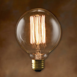 Bulbrite - 40-Watt Nostalgic G30 Edison Globes Thread Fi - One pack of 6 Bulbs. These historic lamps add the ideal finishing touch of authenticity to any fixture. Bright filaments give off a warm, amber glow. Wattages are not indicative of light output. Perfect accent for any antique décor.. Lamp Type: Incandescent. Color: Warm White. Color Temperature: 2000K. Dimmable. Wattage: 40. Voltage: 120. AMPs: 0.33. Base: E26. Avg Hours: 3000. Lumens: 140. Equivalency: 40 Watts. Color Rendering Index (CRI): 100. Beam Spread: 360 degrees. Shape: G30. Maximum Overall Length (MOL): 5.125. 4 in. L x 4 in. W x 5.5 in. H (0.292 lbs.)Bulbrite's Nostalgic Series has been meticulously crafted with great care and attention to preserve every classic detail of these fine antique bulb replicas. Recognized for their antique finish, defined steeple and intricate filament design these bulbs are ideal for any transparent light fixture, both indoors and out.