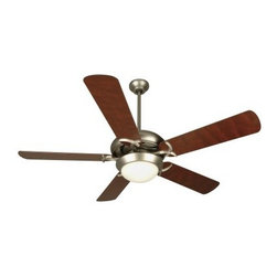 """Craftmade CIU52BN Civic 52-in. Indoor Ceiling Fan - Brushed Nickel - Sometimes, the simplest statement can make the strongest impact and such is the case with the Craftmade CIU52BN Civic 52-in. Indoor Ceiling Fan - Brushed Nickel. Five 52-inch blades circulate air with ease, thanks to the 153 x 15mm motor, while three speed settings, controllable by pull-chain, let you control the airflow to suit your comfort. Warm cherry-tone blades contrast and complement the brushed nickel finish, adding to its upscale contemporary flair. You'll also love how the frosted white bowl light kit, featuring two 40-watt incandescent candelabra base bulbs, helps light up any room you install it in. With its clean lines and simple elegance, this ceiling fan creates a delightful focal point in your kitchen, family room, or bedroom.Additional information:Amps (at high speed): 0.7Watts (at high speed): 61RPM (high-med-low): 200-125-55Airflow (cubic feet per minute): 5159Airflow efficiency (cubic feet per minute per watt): 85Comes with 30-year limited warrantyAbout CraftmadeCraftmade International has designed and distributed its line of superior quality ceiling fans and lighting kits since 1985. Based in Coppell, Texas, Craftmade's extensive product line includes 20 series and 127 models of ceiling fans and over 100 compatible lighting fixtures in a variety of colors and finishes. This company has been awarded one of the """"""""Top 200 Best Small Companies in America"""""""" by Forbes magazine. And according to Consumer Digest, """"""""Craftmade has earned a reputation as one of the most reliable makers of ceiling fans."""""""" The ceiling fans in the Craftmade line are among the most durable and energy-efficient models available on the market, featuring an ingenious blend of function and decoration."""
