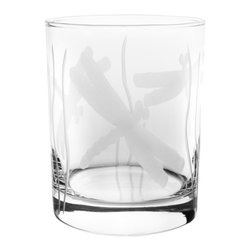 Rolf Glass - Dragonfly DOF 14oz, Set of 4 - Make yours a double, whether it's an actual cocktail or simply a glass of guava juice, it will taste better in these cut-glass double-old-fashioned tumblers. Engraved dragonflies dancing amidst blades of grass complete the summery look. Engraved dragonflies dancing amidst blades of grass complete the summery look.