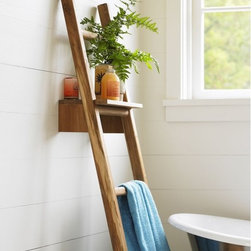 VivaTerra - Teak Ladder with Shelf - Have you seen those clever folks who have added vintage ladders to their bathrooms in lieu of typical towel racks? Haven't gotten around to finding said ladder? Vivaterra's got you, and it's made from beautiful and sustainable Thai teak.