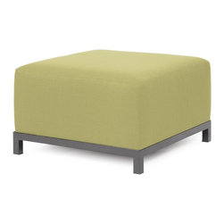 Howard Elliott - Sterling Willow Axis Ottoman - Titanium Frame - At the height of fashion! Lounge in style on sterling axis ottomans. Float the sterling axis ottoman on its own or pair it up with additional chair, corner or ottoman pieces. This chair features boxed cushions with velcro attachments to keep the cushions from slipping and looking their best all of the time. Your sterling axis ottoman will definitely turn heads with its sophisticated linen-like texture and vibrant color selection