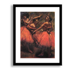 """Gallery Direct - 'Orange Skirts' Framed Print by Edgar Degas - This framed paper print comes with a 3"""" mat surrounding the image and a modern 7/8 inch frame. The sleek frame makes for an extremely versatile design solution."""