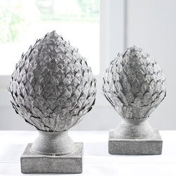 Artichoke on Stand - These classic artichoke finials will add some shine to a mantle, bookshelf, tablescape or garden. They are great for anyone who appreciates traditional home design.