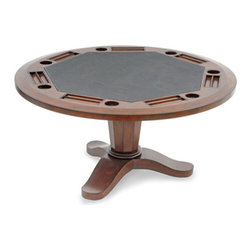 "Thos. Baker - 5' SEVEN poker table - *59"" diameter hardwood table with genuine leather playing surface"