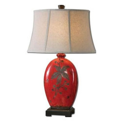 Global Direct - Red Ceramic Lamp: 30 in. Decorative Antiqued Crackled Red Table Lamp 27422 - Shop for Lighting & Fans at The Home Depot. Add some color to your home with this handsome lamp. It is finished in an antiqued crackled red ceramic with rustic black undertones. The oval bell shade is an oatmeal linen fabric.