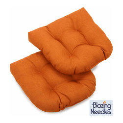 Blazing Needles - Blazing Needles Outdoor Spun Poly Chair/Rocker Tufted Cushions (Set of 2) - Add vibrant color to your outdoor patio furniture with these bright spun-polyester chair/ rocker cushions from Blazing Needles. Perfect for outdoor use, these beautiful tufted cushions will lend comfort and style to your outdoor living space.