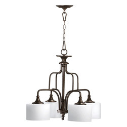 Quorum Lighting - Quorum Lighting Rockwood Transitional Nook Chandelier X-68-4-0936 - The Quorum Lighting Rockwood transitional chandelier offers illuminating brightness to your home and with a classic and architectural look, it offers 4 diffusers allowing you to illuminate a dining room, hallways or entryways just right.You can allow the chandelier linens to bring in lightness to the home. The 4 shades use 4 (100) watt lights giving the right amount of light to illuminate any area in the home.
