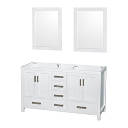 "Wyndham Collection - Wyndham Collection 60"" Sheffield White Double Vanity, No Countertop, No Sink - Distinctive styling and elegant lines come together to form a complete range of modern classics in the Sheffield Bathroom Vanity collection. Inspired by well established American standards and crafted without compromise, these vanities are designed to complement any decor, from traditional to minimalist modern. Available in multiple sizes and finishes."