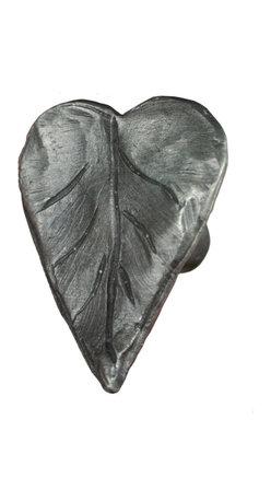 Tropical Leaf Cabinet or Drawer Knob - This tropical leaf cabinet pull is great for any furniture in need of a touch from nature. Made from solid pewter, this decorative pull is intended for use on light interior doors, cabinet doors, or drawers.