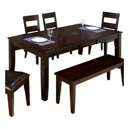"""Jofran - Jofran Dark Rustic Prairie Butterfly Leaf Dining Table - The Anne rectangular dining table with chairs by Jofran is crafted from Asian hardwood and Mango veneers with a dark Rustic Prairie finish. The Anne rectangular dining table comes with an 18"""" Butterfly leaf to expand the table when needed for guests. The Anne rectangular dining table also boasts hand hewn corners and burnished edges. A one rung Ladder back Side chair with a seat upholstered in chestnut PU vinyl is one seating option. There is also a backless solid wood bench available if desired, to customize the dining space. Please note, side chairs are sold as a set of 2 only. The bench is sold individually. Complete the dining room by adding the versatile and functional Anne Server, also by Jofran."""