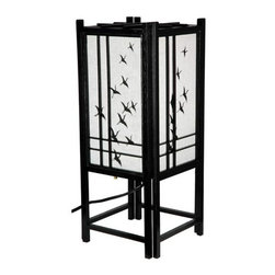 Oriental Furniture - Cranes Black Table Lamp - Traditional wooden lattice design backed by hand-painted white rice paper with crane motif. Oriental Furniture - LMP-18CRANES-BLK
