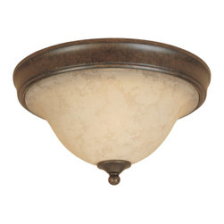 Designers Fountain - Designers Fountain Mendocino Traditional Flush Mount Ceiling Light X-NSF-12818 - With feminine appeal, this Designers Fountain Mendocino Traditional flush mount ceiling light features a warm amber glaze shade. The rich forged sienna finished frame and finial provides a conventional look to the fixture. The ceiling light is a great lighting look to any room scenery.