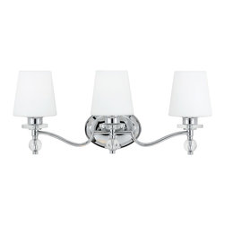 Quoizel - Quoizel HS8603C Hollister 3 Light Bathroom Vanity Lights in Polished Chrome - Long Description: If you enjoy classic style with a contemporary edge, this design will appeal to both aesthetics. The clear glass accents and chrome-finished metal complement the pure white glass shades perfectly. It will illuminate your bath with style and quality.