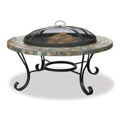 Garden Treasures - Garden Treasures WAD931SP Slate Tile/Copper Outdoor Fire Bowl - Slate Tiles with Copper Inlays