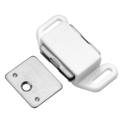 Hickory Hardware - Hickory Hardware 1-5/8 In. White Magnetic Catch - Functionalism is the principal that design is based on the purpose of that piece.  Hinges, hooks, catches, drawer slides and screws.  All designed for a specific purpose and necessary in every home.