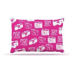 "Kess InHouse - KESS Original ""Camera Pattern"" Magenta Fleece Dog Bed (30"" x 40"") - Pets deserve to be as comfortable as their humans! These dog beds not only give your pet the utmost comfort with their fleece cozy top but they match your house and decor! Kess Inhouse gives your pet some style by adding vivaciously artistic work onto their favorite place to lay, their bed! What's the best part? These are totally machine washable, just unzip the cover and throw it in the washing machine!"